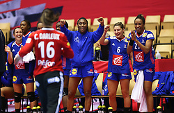 HERNING, DENMARK - DECEMBER 6: (L to R) Pauline Coatanea, Siraba Dembele Pavlovic, Chloe Valentini, and Estelle Nze Minko reacts to a save by Cleopatre Darleux during the EHF Euro 2020 Group A match between Slovenia and France in Jyske Bank Boxen, Herning, Denmark on December 6, 2020. Photo Credit: Allan Jensen/EVENTMEDIA.