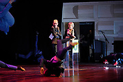 Prinses Laurentien opent Dag van de Literatuur in de Doelen, Den Haag. De Dag van de Literatuur, een eendaags literatuurfestival voor jongeren. Op het festival komen jongeren van de bovenbouw van het voortgezet onderwijs samen om kennis te maken met Nederlandstalige literatuur. <br /> <br /> Princess Laurentien opens Day of Literature in the Doelen, The Hague. The Day of Literature, a one-day literature festival for young people. At the festival, young people of the upper secondary education together to learn about Dutch literature.<br /> <br /> Op de foto / On the photo:  Prinses Laurentien en Dolf Jansen kijken naar de openingsact van DOX en ILL Skill Squad / Princess Laurentien and Dolf Jansen watching the opening act of DOX and ILL Skill Squad