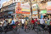 Busy bustling market street in Delhi, India