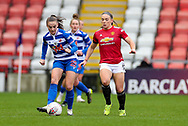 Reading defender Lily Woodham (28) passes the ball during the FA Women's Super League match between Manchester United Women and Reading LFC at Leigh Sports Village, Leigh, United Kingdom on 7 February 2021.