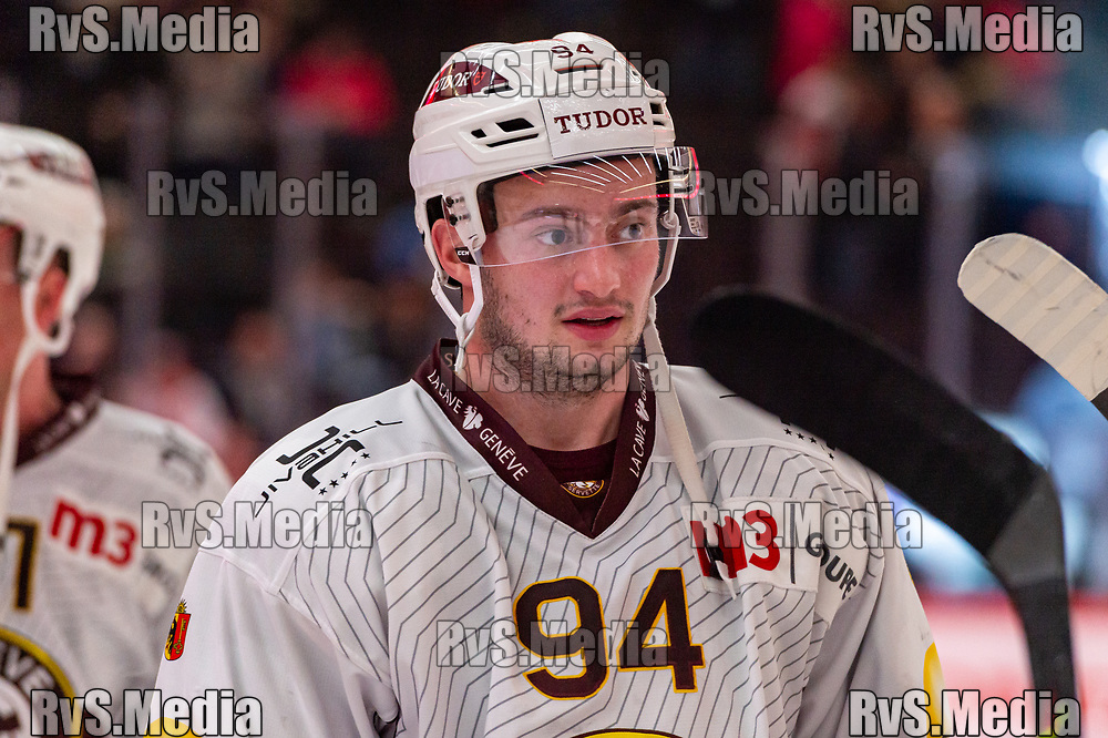 LAUSANNE, SWITZERLAND - NOVEMBER 23: #94 Tim Bozon of Geneve-Servette HC looks on after the Swiss National League game between Lausanne HC and Geneve-Servette HC at Vaudoise Arena on November 23, 2019 in Lausanne, Switzerland. (Photo by Monika Majer/RvS.Media)