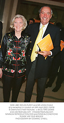 MISS LIBBY REEVES PURDY and MR JOHN CHALK at a reception in London on 24th April 2003.PJB 58