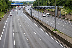 Licensed to London News Pictures. 12/07/2021. Leatherhead, UK. Sad England fans have a lie in this morning as the M25 was very quite for the rush hour after Englands's 2-3 penalty defeat against Italy after the match ended 1-1 at Wembley last night. Photo credit: Alex Lentati/LNP