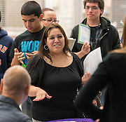 Houston ISD staff explain the details of HB5 to parents and students during a community meeting at Reagan High School, March 10, 2014.