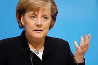 23 JAN 2006, BERLIN/GERMANY:<br /> Angela Merkel, CDU Bundesvorsitzende und Bundeskanzlerin, waehrend einer Pressekonferenz, Konrad-Adenauer-Haus<br /> Angela Merkel, Federal Chancellor of Germany, during a press conference, Konrad-Adenauer-Haus<br /> IMAGE: 20060123-02-008