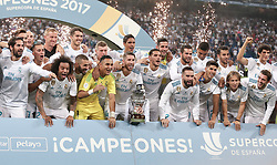 August 17, 2017 - Madrid, Spain - Real Madrid's players pose as they celebrate their Supercup after winning the second leg of the Spanish Supercup football match Real Madrid vs FC Barcelona at the Santiago Bernabeu stadium in Madrid, on August 16, 2017. (Credit Image: © Raddad Jebarah/NurPhoto via ZUMA Press)