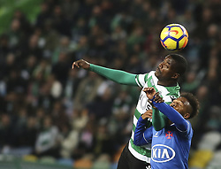 December 1, 2017 - Lisbon, Portugal - Sporting's midfielder William Carvalho (L) vies with Belenenses's forward Fredy during the Portuguese League  football match between Sporting CP and CF Belenenses at Jose Alvalade  Stadium in Lisbon on December 1, 2017. (Credit Image: © Carlos Costa/NurPhoto via ZUMA Press)