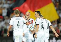 Fotball<br /> Privatlandskamp<br /> Tyskland v Armenia<br /> 06.06.2014<br /> Foto: Witters/Digitalsport<br /> NORWAY ONLY<br /> <br /> 3:1 Jubel v.l. Torschuetze Benedikt Hoewedes, Lukas Podolski, Mesut Oezil, Miroslav Klose (Deutschland)<br /> Fussball, Testspiel, Deutschland - Armenien