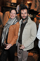 AMY GILLIAM and EDUARDO FRANCIA at a reception hosted by Ralph Lauren Double RL and Dexter Fletcher before a private screening of Wild Bill benefitting FilmAid held at RRL 16 Mount Street, London on 26th March 2012.