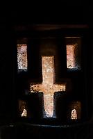 Cross shaped windows, Bet Medhane Alem, one of 11 rock hewn medieval monolithic churches in Lalibela, Ethiopia.