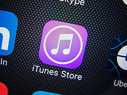 Detail of iTunes store app icon on iPhone