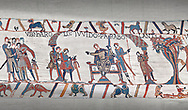 Bayeux Tapestry scene 9:  Guy de Ponthieu, on throne, discussed his with Harold his ransom demands. .<br /> <br /> If you prefer you can also buy from our ALAMY PHOTO LIBRARY  Collection visit : https://www.alamy.com/portfolio/paul-williams-funkystock/bayeux-tapestry-medieval-art.html  if you know the scene number you want enter BXY followed bt the scene no into the SEARCH WITHIN GALLERY box  i.e BYX 22 for scene 22)<br /> <br />  Visit our MEDIEVAL ART PHOTO COLLECTIONS for more   photos  to download or buy as prints https://funkystock.photoshelter.com/gallery-collection/Medieval-Middle-Ages-Art-Artefacts-Antiquities-Pictures-Images-of/C0000YpKXiAHnG2k