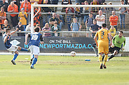 Matt Lund of Rochdale sees his penalty kick saved by Newport goalkeeper Ian McLouglin. Skybet football league two match, Newport county v Rochdale at Rodney Parade in Newport, South Wales on Saturday 3rd May 2014.<br /> pic by Mark Hawkins, Andrew Orchard sports photography.