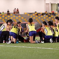 Nanyang Poly (blue) beat Singapore Poly 7-1 in their opening game of the POL-ITE Touch Football Championship. (Photo © Les Tan/Red Sports)