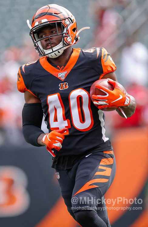 CINCINNATI, OH - SEPTEMBER 15: Brandon Wilson #40 of the Cincinnati Bengals is seen before the game against the San Francisco 49ers at Paul Brown Stadium on September 15, 2019 in Cincinnati, Ohio. (Photo by Michael Hickey/Getty Images) *** Local Caption *** Brandon Wilson