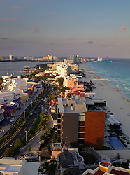 09 Feb 2014. Cancun, Mexico.<br /> Overlooking the tourist beach at Isla Cancun along the Zona Hotelera on the Carribean Sea from the roof of The beach Palace resort hotel. <br /> Photo; Charlie Varley/varleypix.com