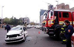 South Africa - Cape Town - 16 - September - 2020 A Fire truck and a Police vehicle collided on the corner  strand Street and  Buitengracht Street. in Cape Town. Photographer Ayanda Ndamane African News Agency(ANA)