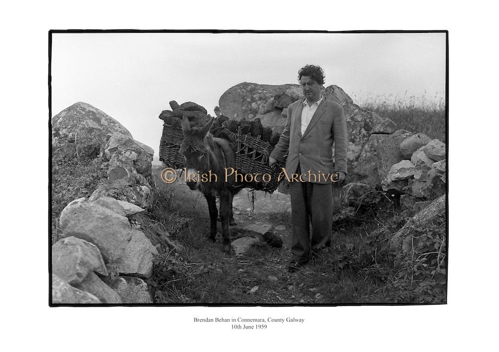 Brendan Behan in Connemara, County Galway. B73-8584 <br /> 10th June 1959<br /> 10/06/1959