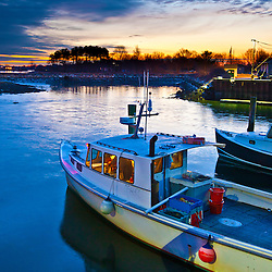 Lobtser boat at the commercial fishing pier in Portsmouth, New Hampshire.