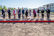 Bellaire High School students, staff, and community members gathered for the  groundbreaking ceremony in honor of their new school, which will incorporate the existing science wing and feature a new three-story academic wing, with multiple flexible learning areas for group collaboration, library with makerspace, and an exterior courtyard. Additional features of the building include a new fine arts wing containing a 900-seat auditorium and black box theater, along with band, guitar, dance, and choir rooms.