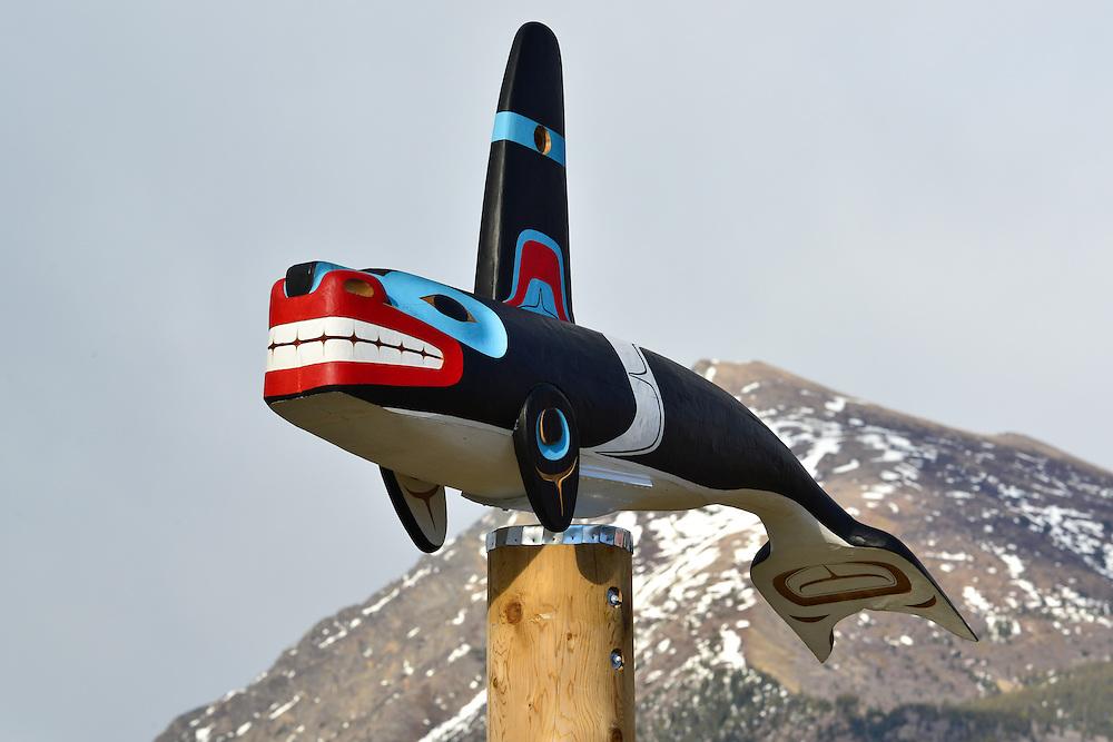 Killer whale totem, Carcross, Yukon