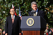 U.S. President Bill Clinton welcomes Chinese Premier Jiang Zemin during a State Arrival ceremony on the South Lawn of the White House October 29, 1997 in Washington, DC.