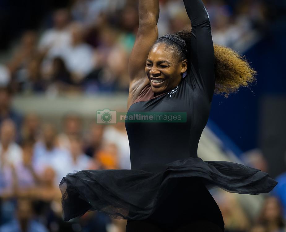 September 4, 2018 - Flushing Meadows, New York , U.S. - SERENA WILLIAMS of USA celebrates her women's singles quarter-final win at the 2018 US Open Grand Slam tennis tournament. (Credit Image: © AFP7 via ZUMA Wire)