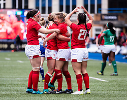 Wales Women Celebrate the win<br /> <br /> Photographer Simon King/Replay Images<br /> <br /> Six Nations Round 5 - Wales Women v Ireland Women- Sunday 17th March 2019 - Cardiff Arms Park - Cardiff<br /> <br /> World Copyright © Replay Images . All rights reserved. info@replayimages.co.uk - http://replayimages.co.uk