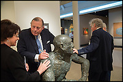 LADY SWIRE; DAVID KER; SIMON DICKINSON AROUND A SCULPTURE BY ELIZABETH FRINK, Masterpiece London 2014 Preview. The Royal Hospital, Chelsea. London. 25 June 2014.