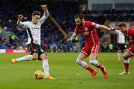 Tom Lawrence of Rotherham takes on John Brayford of Cardiff. Skybet football league championship match, Cardiff city v Rotherham Utd at the Cardiff city stadium in Cardiff, South Wales on Saturday 6th December 2014<br /> pic by Mark Hawkins, Andrew Orchard sports photography.
