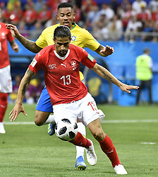 ROSTOV-ON-DON, June 17, 2018  Ricardo Rodriguez (front) of Switzerland competes during a group E match between Brazil and Switzerland at the 2018 FIFA World Cup in Rostov-on-Don, Russia, June 17, 2018. (Credit Image: © Chen Yichen/Xinhua via ZUMA Wire)
