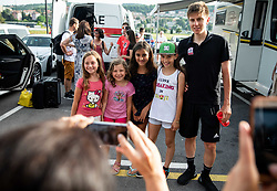 Tadej Pogacar with young fans after the Slovenian National Road Cycling Championships 2021, on June 20, 2021 in Koper / Capodistria, Slovenia. Photo by Vid Ponikvar / Sportida