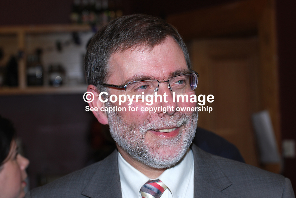 Nelson McCausland, MLA, Minister for Culture, Arts and Leisure, power-sharing Government of N Ireland, UK. Taken at opening of an exhibition to mark the 100th anniversary of the birth of Sam Hanna Bell, a local radio broadcaster, author, film maker, programme maker. 200910163124.<br /> <br /> Copyright Image from Victor Patterson, Belfast, UK<br /> <br /> t: +44 28 9066 1296 (from Rep of Ireland 048 9066 1296)<br /> m: +44 7802 353836<br /> e: victorpattersonbelfast@gmail.com<br /> <br /> www.images4media.com<br /> <br /> Please see my full Terms and Conditions of Use at https://www.images4media.com/p/terms-conditions - it is IMPORTANT that you familiarise yourself with them.<br /> <br /> Images used online incur an additional cost. This cost should be agreed in writing in advance. Online images must be visibly watermarked i.e. © Victor Patterson or that of the named photographer within the body of the image. The original metadata must not be deleted from images used online.<br /> <br /> This image is only available for the use of the download recipient i.e. television station, newspaper, magazine, book publisher, etc, and must not be passed on to a third party. It is also downloaded on condition that each and every usage is notified within 7 days to victorpattersonbelfast@gmail.com.<br /> <br /> The right of Victor Patterson (or the named photographer) to be identified as the author is asserted in accordance with The Copyright Designs And Patents Act (1988). All moral rights are asserted.