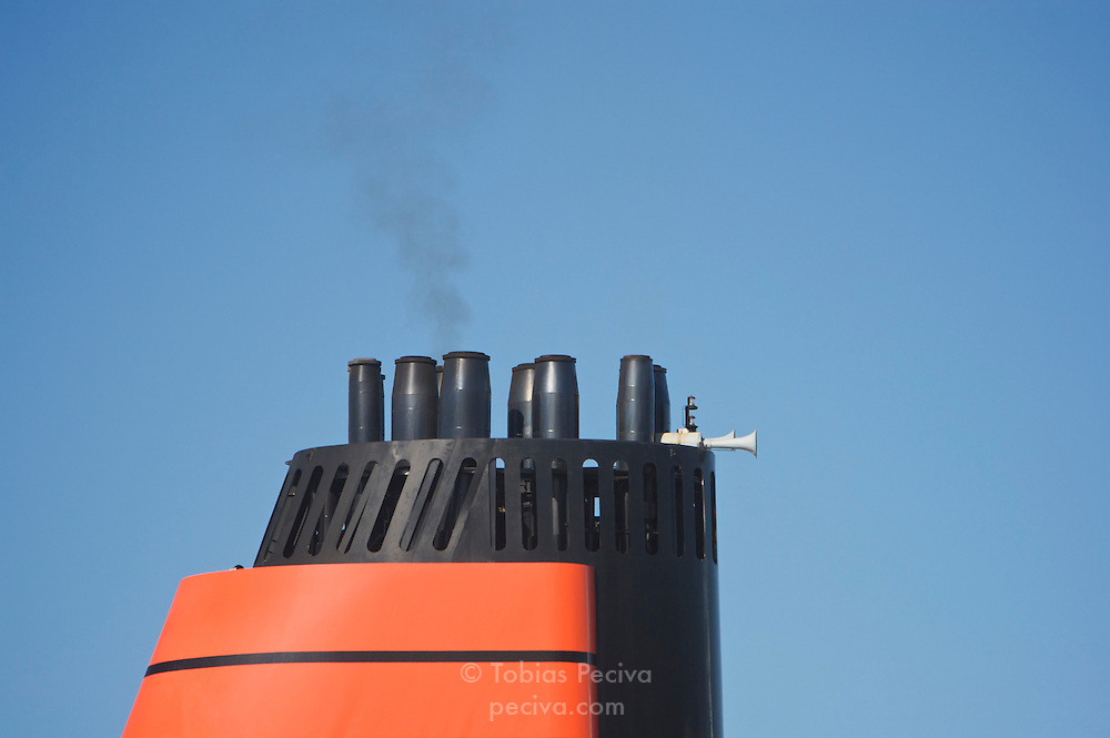 Smokestack of the cruise ship MS Queen Victoria, berthed in Manhattan, New York.
