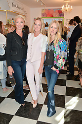 Left to right, TAMARA BECKWITH, ALICE NAYLOR-LEYLAND and LADY MARY CHARTERIS at a party to launch Biscuiteers Fashion Biscuit Collection inspired by Alice Naylor-Leyland's wardrobe held at Biscuiteers, 194 Kensington Park Road, London W11 on 23rd June 2015.