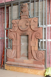 Boathouse at Canal Dock Phase II | State Project #92-570/92-674 Construction Progress Photo Documentation No. 17 on 1 December 2017. Image No. 19 Salvaged Cartouche from the Adee Boathouse