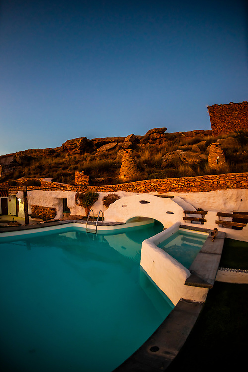 Swimming pool, Balcones de Piedad, Los Balcones, Guadix, Granada Province, Andalusia, Spain. Five cave apartments in this boutique hotel give visitors the opportunity to stay in a luxury suite built into a cave.