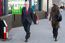 London, UK. 21 May, 2019. Shadow Chancellor John McDonnell joins cleaners belonging to the Public & Commercial Services Union (PCS) and working at the Department for Business, Energy and Industrial Strategy (BEIS) via outsourced contractors ISS and Aramark on the picket line outside the Government department after they voted decisively to take industrial action for four days to demand the London Living Wage and an end to outsourcing.