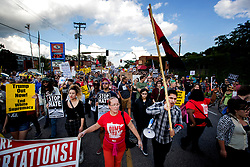 Demonstrators at a rally for solidarity with anti-racists in Charlottesville march north on Franklin Avenue Monday, Aug. 14, 2017 in Minneapolis, MN, USA. Photo by Carlos Gonzalez/Minneapolis Star Tribune/TNS/ABACAPRESS.COM