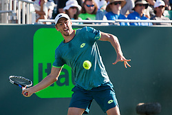 March 23, 2018 - Key Biscayne, FL, U.S. - KEY BISCAYNE, FL - MARCH 23: John Millman (AUS) in action on Day 5 of the Miami Open at Crandon Park Tennis Center on March 23, 2018, in Key Biscayne, FL. (Photo by Aaron Gilbert/Icon Sportswire) (Credit Image: © Aaron Gilbert/Icon SMI via ZUMA Press)