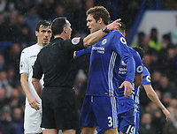 Football - 2016 / 2017 Premier League - Chelsea vs. Swansea City<br /> <br /> Marcos Alonso of Chelsea makes his point to Referee Neil Swarbrick at Stamford Bridge.<br /> <br /> COLORSPORT/ANDREW COWIE
