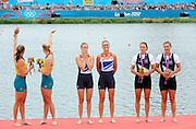 Eton Dorney, Windsor, Great Britain,<br /> <br /> 2012 London Olympic Regatta, Dorney Lake. Eton Rowing Centre, Berkshire[ Rowing].<br /> <br /> Description; Women's Pairs,  Gold Medalist Helen GLOVER and Heather STANNING. GBR W2-   Dorney Lake.<br /> <br /> 12:25:06  Wednesday  01/08/2012<br /> <br /> [Mandatory Credit: Peter Spurrier/Intersport Images]