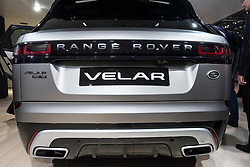 Rear view of new Land Rover Velar at 87th Geneva International Motor Show in Geneva Switzerland 2017