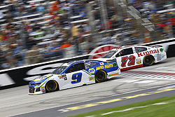 April 8, 2018 - Ft. Worth, Texas, United States of America - April 08, 2018 - Ft. Worth, Texas, USA: Chase Elliott (9) and Cole Whitt (72) battle for position during the O'Reilly Auto Parts 500 at Texas Motor Speedway in Ft. Worth, Texas. (Credit Image: © Chris Owens Asp Inc/ASP via ZUMA Wire)