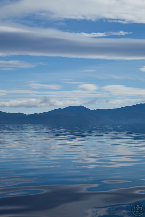 """""""Lake Tahoe Blues"""" - Photograph of the very blue waters and sky of Lake Tahoe."""