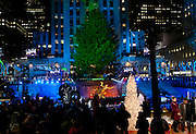 The tree at Rockefeller Center prior to the lighting. The skating rink and stage can be seen below the tree.