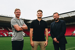 Bristol City Head Coach Dean Holden and CEO Mark Ashton with new  signing Chris Martin - Rogan/JMP - 1903/09/2020 - Ashton Gate Stadium - Bristol, England - Sky Bet Championship.