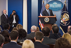 January 18, 2017 - Washington Dc, Washington DC, USA - President Barack Obama gives his final press conference in the James Brady briefing room of the White House. Photo Ken Cedeno (Credit Image: © Ken Cedeno via ZUMA Wire)