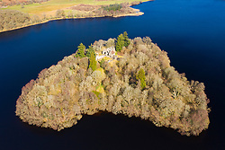 Inchmahome Priory is situated on Inchmahome, the largest of three islands in the centre of Lake of Menteith, Scotland UK
