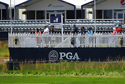 May 15, 2019 - Farmingdale, NY, U.S. - FARMINGDALE, NY - MAY 15:  A general view of fans at the concessions  during the PGA Championship on May 15, 2019 at Bethpage State Park the Black Course in Farmingdale, NY.  (Photo by Rich Graessle/Icon Sportswire) (Credit Image: © Rich Graessle/Icon SMI via ZUMA Press)